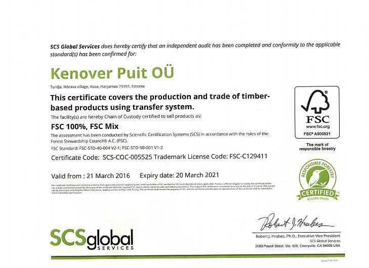 FSC sertifikaat Kenover Puit OÜ